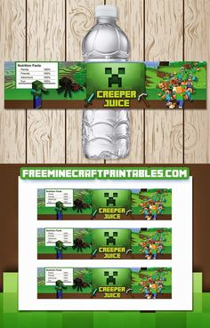 Free Minecraft Printables: Free Printable Minecraft Water Bottle Labels - Minecraft World Minecraft Food Labels, Minecraft Party Food, Minecraft Party Decorations, Minecraft Birthday Party, 6th Birthday Parties, Free Minecraft Printables, Minecraft Templates, 9th Birthday, Birthday Ideas