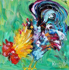 Original oil ROOSTER CHICKEN palette knife painting impasto impressionism fine art by Karen Tarlton. $45.00, via Etsy.