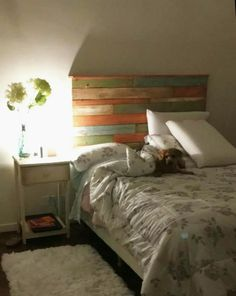 respaldo de cama en madera reciclada pallet patinado vintage