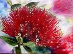 Pohutakawa Acyrlic on canvas, by Annette Straugheir Flower Art, Art Flowers, Exotic Flowers, Art Club, Landscape Paintings, New Zealand, Watercolor, Gallery, Perspective