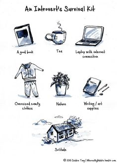 "introvert-insight: "" wheresmybubble: "" My survival kit. "" Most of this is pretty accurate for me, but I'm curious to know what YOUR introvert ""survival kit"" is. :) "" I'd probably include a teleportation portal to visit family and friends. Introvert Quotes, Introvert Problems, Introvert Cat, Extroverted Introvert, Being An Introvert, Introvert Tattoo, Infj Mbti, Infp Personality, Baguio"