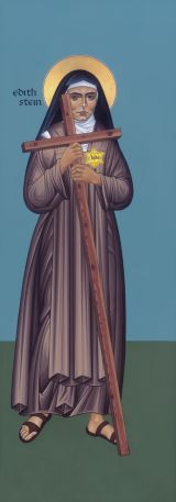 St. Edith Stein was a convert from Judiasm, who died as a nun in Auschwitz in 1942. This painting is by Robert Lentz.