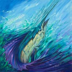 Sword fish painting, using purple as well as typical blues and greens