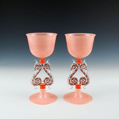 Venetian Goblets in Orange hand blown glass by kivaford on Etsy, $1900.00