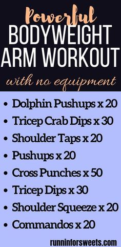 Why hit the gym when you don't have to? This powerful arm workout can be completed right at home, with no equipment. Get stronger in just 20 minutes with these quick, effective arm exercises. No weights are required to tone your upper body. Build muscle w Cross Training Workouts, Training Plan, Strength Training, Training Exercises, Fitness Exercises, Workout Fitness, Workout Bodyweight, Squats Fitness, Workout Men