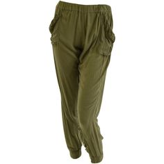 Slouch Pants - Khaki (£105) ❤ liked on Polyvore featuring pants, khaki pants, saggy pants, slouchy trousers, stretch waist pants and slouchy pants