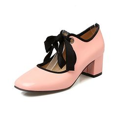 Heels+Spring+Summer+Fall+Winter+Club+Shoes+Patent+Leather+Office+&+Career+Dress+Casual+Chunky+Heel+Lace-up+Pink+Almond+–+AUD+$+60.20
