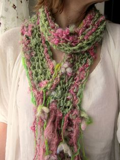 soft and rustic handknit scarf enchanted lady by beautifulplace