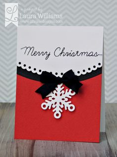 card by laura williams, featuring Lil' Inker Designs Stitched Script Holiday Words, Cover Up Die: Snowflakes, and Border Builders dies