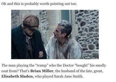 The tramp in Doctor Who Deep Breath was played by Brian Miller, the husband of the late, great Elisabeth Sladen! pic.twitter.com/PdWxiQfJ6d