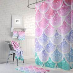 Pastel Mermaid Scales Shower Curtain Optional Bath, Bath Towels Mat Bathroom Set