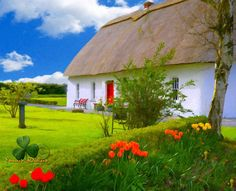 Thatched cottage and lovely garden. Digital Art, Cottage, Cabin, House Styles, Garden, Garten, Cottages, Cabins, Lawn And Garden