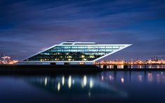 Download wallpapers Hamburg, Elbe, Viewing platform, Altona, Evening, Germany, modern architecture, Dockland