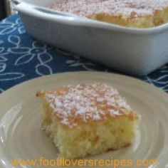 A delightful light coconut cake drenched in a scented syrup. The recipe calls for self-rising flour. Greek Sweets, Greek Desserts, Yummy Treats, Sweet Treats, Yummy Food, Healthy Food, Turkish Recipes, Greek Recipes, Egyptian Recipes