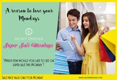 A reason to love your mondays with Secret Dresser super sale. Comment below which item would you like to see on super sale this monday ? OR  Inbox us the details ... #secretdresser #sd #shopsecretdresser #mondaysale #supermonday #awesomemonday #beatthemondayblues #summersale #sale #ootd #luxurybrands #luxurybags #brandedbags #fashion #delhifashion #delhincr #india #onlineshopping #shoponline