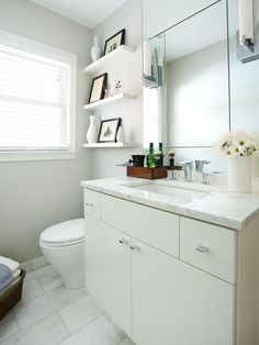 Floating Bathroom Vanity with Mosaic Tiled Backsplash in Neutral Beige Color Palette : Designers' Portfolio : HGTV - Home & Garden Televisio...