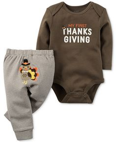 He'll celebrate in style with this two-piece set from Carter's, featuring a fun graphic bodysuit and pull-on pants with an adorable turkey applique. | Bodysuit and pants: cotton | Machine washable | I