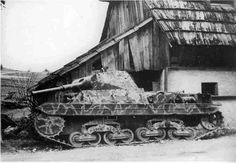 """Panzerkampfwagen P40 737(i) (P26/40)    Vehicle belonging to the 24. Waffen-Gebirgs-Division der SS """"Karstjäger.""""  The P40 was an Italian World War II tank design. It was armed with a 75 mm gun and an 8 mm Breda machine gun, plus another optional machine gun in an anti-aircraft mount. The official Italian designation was Carro Armato (""""armored tank"""") P 26/40. The designation means:[citation needed] P for pesante (Italian: """"heavy""""), the weight of 26 tons, and the year of adoption 1940."""