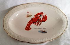 Small platter, plate, Atlantic Canada's Lobster, Liverpool Pottery Ltd Stoke on Trent England, gilt edged by KathleenNCo on Etsy