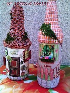 D* ARTES & IDEIAS CRIATIVAS.: Garrafas decoradas e conchas. Old Wine Bottles, Wine Bottle Art, Diy Bottle, Bottles And Jars, Hobbies And Crafts, Fun Crafts, Green Crafts For Kids, Bottle House, Polymer Clay Ornaments