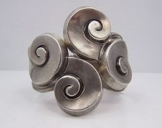 Margot de Taxco  5580 Vintage Mexican Silver Clamper Bracelet