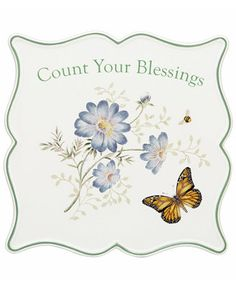 Lenox Dinnerware, Butterfly Meadow Sentiment Trivet Blessings