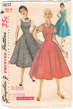 Simplicity 4837  Vintage 1950s Sewing Pattern  Junior