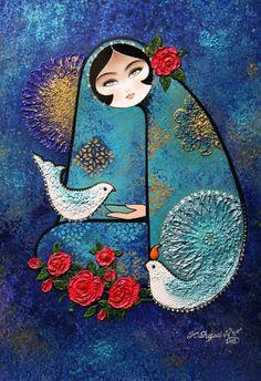 Acrylic Painting نقاشي سنتي ايراني كامليا شجاعي Pencil Painting, Artist Painting, Arabian Art, Naive Art, Architecture Art, Art Pictures, Art Drawings, Fashion Art, Paint