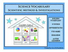 This engaging activity for students will help review key vocabulary terms used in scientific processes and investigations.Graphical representations help students learn and remember the science vocabulary.Word Included:ExperimentConclusionQuestionObserveDataHypothesisIndependentDependentRecordPredictionMeasurementVariableIllustrateExplainGraphQuantityInferenceCollectPie ChartModelEstimateDemonstrateTestMar GraphVolumeLine GraphToolAnalyzeRepeatDistance