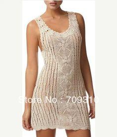 Sexy Mini Lace Crochet pura boda Simple vestido Maxi vestido de la aduana Color ganchillo 100% algodón LF198