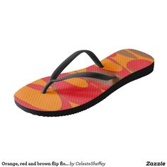 Orange, red and brown flip flops by Khoncepts
