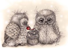 """Young Cupcake Owls"" par Janet Kisch"