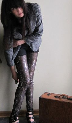 Sequin stars leggings cosmic sheer black embellished by Minxshop, $70.00