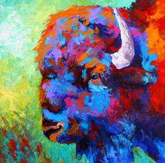 Bison Head II Painting  - Bison Head II Fine Art Print