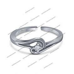 Solitaire Rd Sim Diamond in 14K White Gold FN 925 Silver Promise Adjustable Ring #br925 #PromiseAdjustableRing