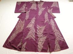 Japanese Antique Kimono Silk Purple Feather P091608 | eBay