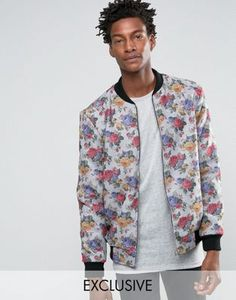 Reclaimed Melton Bomber Jacket In Floral Print