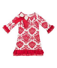 Look what I found on #zulily! Red & Ivory Toile Bow Dress - Toddler & Girls #zulilyfinds