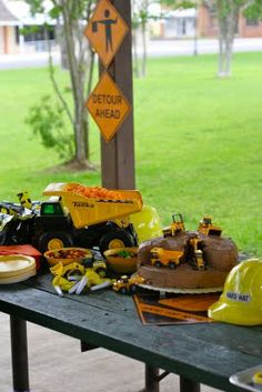 Adorable Tonka truck birthday theme!