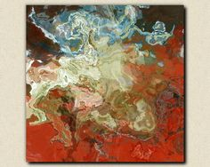 "Contemporary abstract expressionism stretched canvas print, 30x30 to 36x36, giclee in red and aqua, ""At the Heart"""