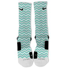 Tiffany Blue Chevron Customized Nike Elite Socks by FreshElites