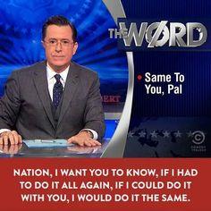 Aaaaaand I'm sobbing again. John Oliver Stephen Colbert, Colbert Report, Last Week Tonight, John Stewart, The Daily Show, Comedy Movies, Funny Clips, Man Humor, I Want You