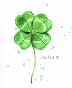 Watercolor four-leaf-clover