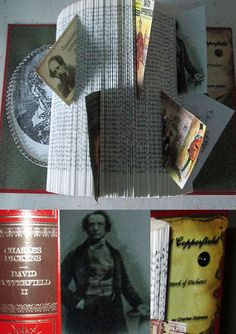 Altered book art: Honouring the famous Writer Charles Dickens and his David Copperfield book.  Kunnioittaen kuuluista kirjailiaa ja hänen teostaan. Kirjalle uusi elämä.