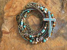 Boho  Mahogany  Endless Leather Wrap Bracelet by fleurdesignz