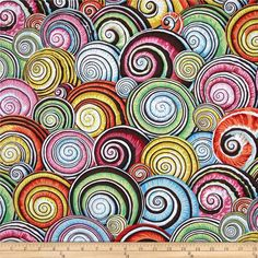 Kaffe Fassett Spiral Shells Multi from @fabricdotcom  Designed by Philip Jacobs for Westminster, this cotton print fabric is perfect for quilting, apparel and home decor accents. Colors include black, brown, red, tan, yellow, white, shades of orange, shades of pink, shades of blue, and shades of green.