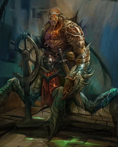 Derrick Song's fantasy art~ crab people captain pirate