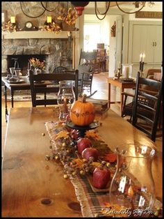 Wish I had the room for a beautiful table like this! Autumn décor from Behind My Red Door Wish I had the room for a beautiful table like this! Autumn décor from Behind My Red Door Thanksgiving Table, Thanksgiving Decorations, Seasonal Decor, Table Decorations, Fireplace Decorations, Fireplace Mantle, Fall Home Decor, Autumn Home, Country Decor
