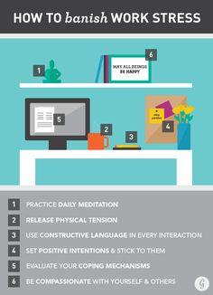 How to Banish Work Stress. Reduce stress and improve wellness at work. Work Stress, Stress Less, Reduce Stress, Stress And Anxiety, Stress Free, Work Life Balance, Stress Management, Desk Workout, Workplace Wellness