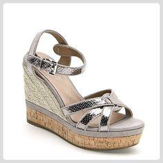 ALESYA by Scarpe&Scarpe - Schuhe mit Keilabsatz und Riemchen am Knöchel - 36,0, Taubengrau - Stiefel für frauen (*Partner-Link)